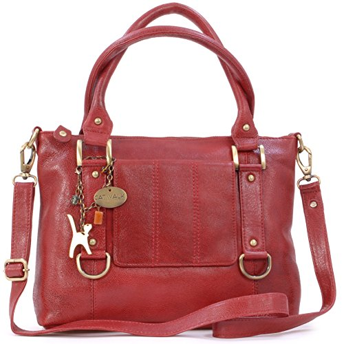 Catwalk Collection Handbags - Leder - Umhängetasche/Handtasche - Handtasche mit Schultergurt/Schultertasche - GALLERY - Rot -