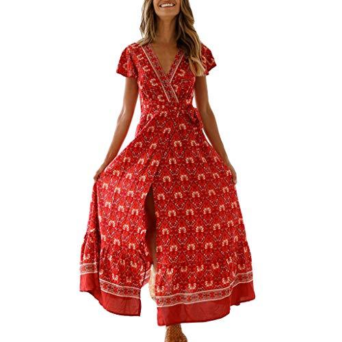 POPLY Damen Boho V-Ausschnitt Sommer Party Abend Strand Langes Kleid Sommerkleid Elegant Jahrgang Floral Drucken ()