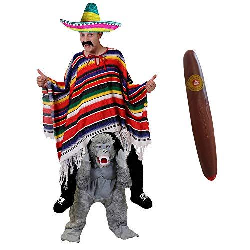 ILOVEFANCYDRESS Gorilla -Pick ME UP (TRAGE Mich)(HEBE Mich HOCH) KOSTÜME VERKLEIDUNG = Gorilla+Poncho+BUNTER Sombrero+Plastik ZIGARRE+Schnurrbart =Fasching Karneval Halloween Unisex