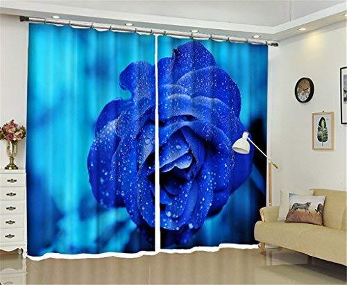 BAIF 2 Paneles de Ahorro de energía y reducción de Ruido en Las Cortinas Opacas, Blooming Blue Enchantress Flower Hotel, Cortina Individual para el Dormitorio, Sala de Estar, Cortina Decorada, 14