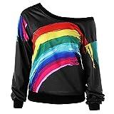 OSYARD Damen Kleider Regenbogen Druck Tops, Frauen Casual LangäRmel Rainbow Print Pullover Bluse Shirts Sweatshirt (M, Schwarz)