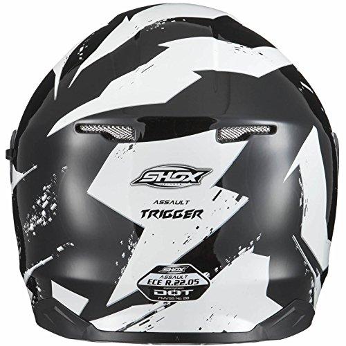 Shox Assault Trigger Motorrad Roller Helm L Schwarz/Weiß - 4