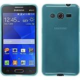Funda de silicona para Samsung Galaxy Core 2 - transparente turquesa - Cover PhoneNatic Cubierta + protector de pantalla