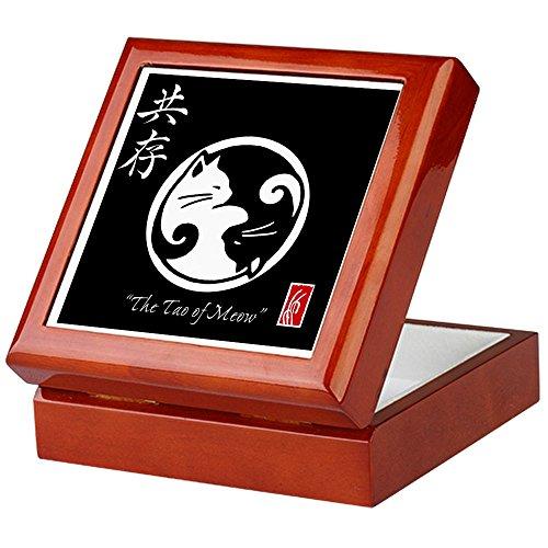 CafePress–Tao von Meow: Ying Yang Katzen–Keepsake Box, fertig Hartholz Jewelry Box, Samt Gefüttert Memento Box mahagoni