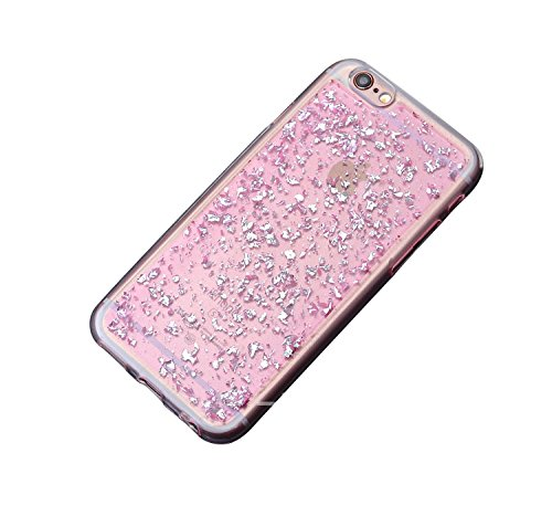 iPhone 8 / iPhone 7 Hülle, Minto biegsame TPU Soft Schutzhülle Glitzer Pailletten Design in Silber für iPhone 7 / 8 Pink -i7