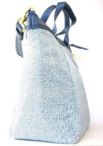 Borbonese borsa a spalla con doppi manici in jet op colore mare Light Blue