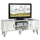 IDIMEX TV Lowboard TV Rack HiFi Möbel Fernsehtisch Eva 2 Türen 2 Ablagen, Spanplatte 3D Strukturfolie Shabby Chic