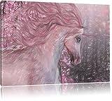 wunderbares Einhorn Kunst Buntstift Effekt, Format: 60x40 auf Leinwand, XXL riesige Bilder fertig gerahmt mit Keilrahmen, Kunstdruck auf Wandbild mit Rahmen, günstiger als Gemälde oder Ölbild, kein Poster oder Plakat