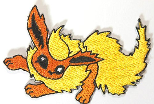 Flareon Pokemon Patch Embroidered Iron on Badge Aufnäher Kostüm Fancy Kleid Pokémon Cosplay (Team Rocket Meowth Kostüm)