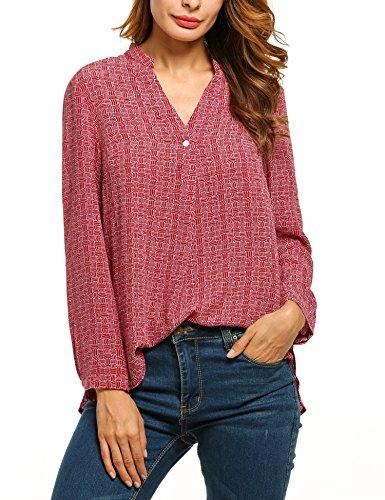 Meaneor Damen Hemdbluse Chiffonbluse bemusterte Bluse Sexy V-Ausschnitt Langarm mit Stehkragen Rot -