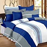 #2: Ahmedabad Cotton Basics 136 TC Cotton Double Bedsheet with 2 Pillow Covers - Multicolour