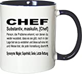 Mister Merchandise Kaffeebecher Tasse Chef Definition Geschenk Gag Job Beruf Arbeit Witzig Spruch Teetasse Becher Weiß-