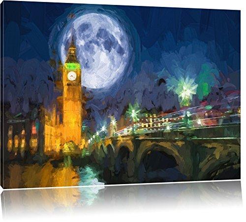 Big Ben vor dem Mond in London Format: 100x70 auf Leinwand, XXL riesige Bilder fertig gerahmt mit Keilrahmen, Kunstdruck auf Wandbild mit Rahmen, günstiger als Gemälde oder Ölbild, kein Poster oder Plakat