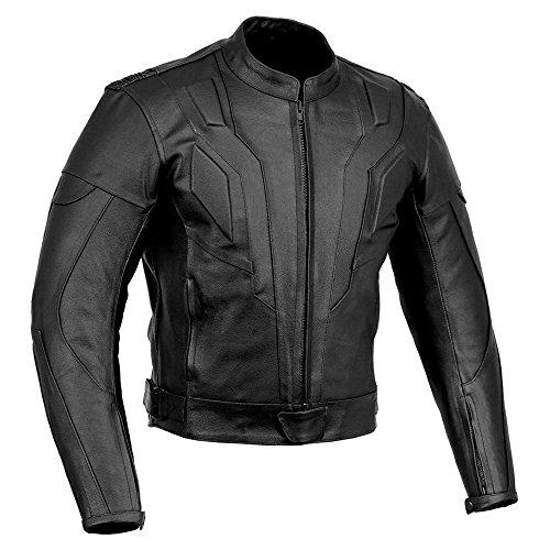 Giacca di pelle per motocicletta da uomo con protezioni approvati ce, giacca da motociclista