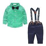 MissChild Baby Junge Bekleidungsset Formal Gentleman Plaid Shirt + Hose mit Hosenträger Ausstattung Grün Label 90