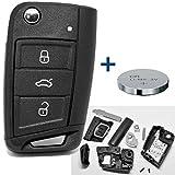 Auto Schlüssel Funk Fernbedienung 1x Gehäuse 3 Tasten + 1x Rohling + 1x CR2025 Batterie für VW SEAT SKODA