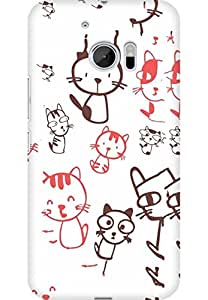 AMEZ designer printed 3d premium high quality back case cover for HTC One M10 (Cute Cats)