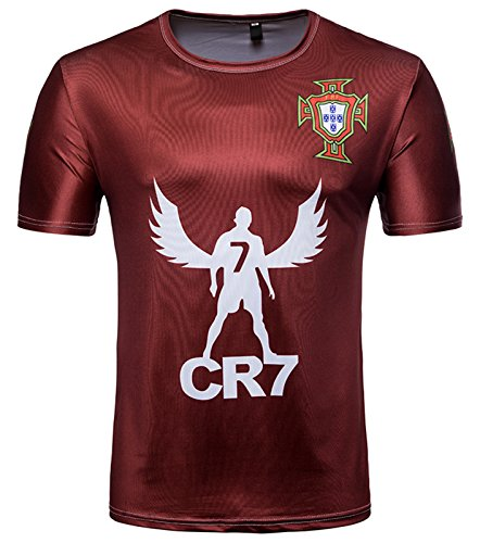 Whatlees Herren Slim Fit FIFA Fussball WM 2018 3D Druck T-Shirt Portugal Cristiano Ronaldo - Ba0043-15 - L