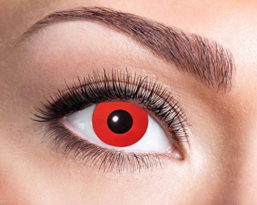 Farbige Kontaktlinsen Rot Ohne Stärke 0 dioptrin mit Motiv Fun Linsen für Halloween Karneval Fasching Cosplay Kostüm 3 Monatslinsen Red Devil Vampir (Kostüm Bella Swan)