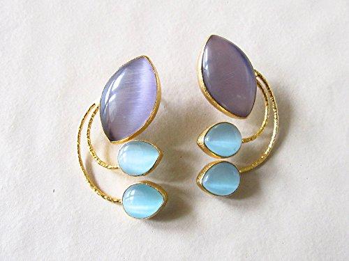 Ein Modeschmuck Art Einer Von (Lila und blaue Ohrstecker / Designer indische Ohrringe / einer Art Ohrstecker - Mode Ohrringe für)
