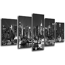 Cuadro Moderno fotografico base madera, 165 x 62 cm, Paisaje Ciudad Noche, Blanco y Negro ref. 26196