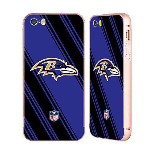 Ufficiale NFL Marmo 2017/18 Baltimore Ravens Oro Cover Contorno con Bumper in Alluminio per Apple iPhone 5 / 5s / SE Righe