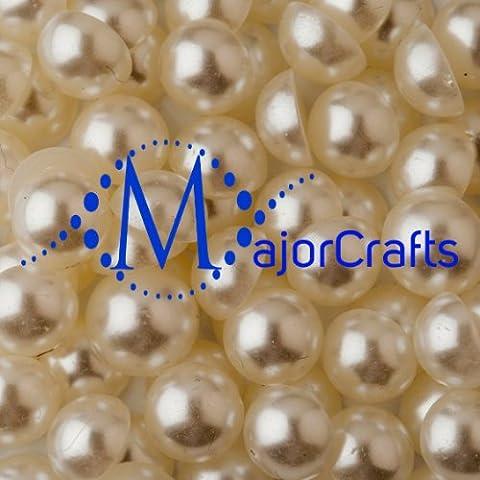 MajorCrafts® 400pcs 6mm Cream Ivory Flat Back Half Round Resin Pearls