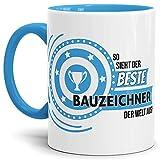 Tassendruck Berufe-TasseSo Sieht der Beste Bauzeichner aus Innen & Henkel Hellblau/Job/Tasse mit Spruch/Kollegen/Arbeit/Fun/Mug/Cup/Geschenk Qualität - 25 Jahre Erfahrung