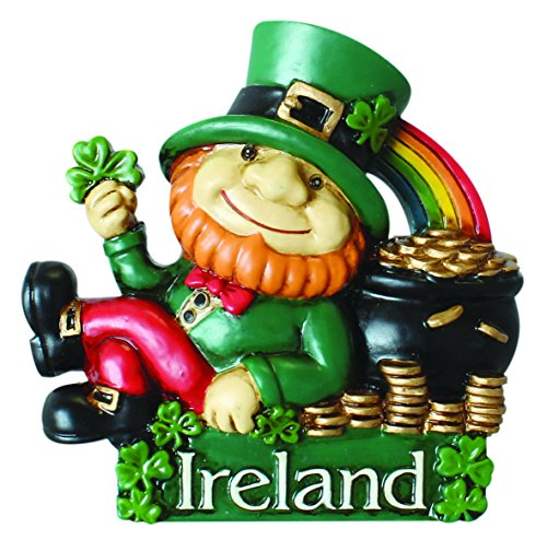 Magnet With Ireland Leprechaun Lying Up Against His Pot Of Gold Under A Rainbow -