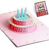 NuoYo Geburtstagskarte 3D Pop up, handgefertigt, Grußkarte, Glückwunsch Karte, Grußkarten, Glückwunschkarten, Geschenkkarte, Karte zum Geburtstag,Bunte Kuchen