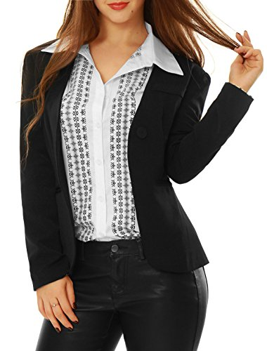 Allegra K Women Long Sleeves One Button Dots Boyfriend Blazer M Black