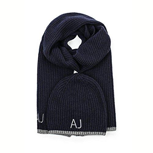 Bonnet & Echarpe ARMANI JEANS bleu marine & gris
