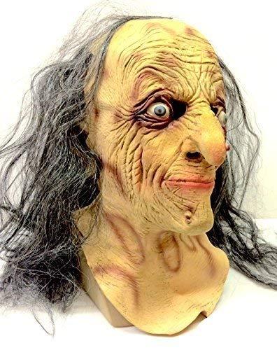 The Rubber Plantation TM 619219293396Böse Hexe Maske Latex Halloween-Kostüm Zombie Alte Frau Lady grau Haar Accessoire von Horror by Coopers Fancy Kleid, Unisex, ONE SIZE