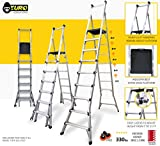 Euro Gorilla Series 7 to 11 ft (Reach 18 ft) Aluminium Step telescopic ladder GT11- A-Type - 900mm hand rail - Stairs & Slopes - Ideal for double height & Warehouses - Wheel kit & Wide flared base - Worlds best Telescopic ladder - Top seller on Amazon USA