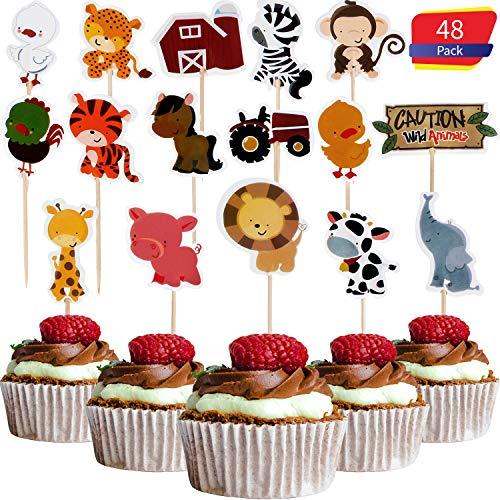 Blulu 48 Stücke Tier Cupcake Topper Set Farm Zoo Tier Cupcake Topper Tier Kuchen Topper Doppelseitige Cupcake Dekorationen für Baby Dusche Geburtstag Party Lieferungen, 16 Stile - Cake Topper Fondant