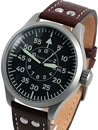 Messerschmitt 47mm Fliegeruhr Armbanduhr mit Aviator Lederband me-47X L