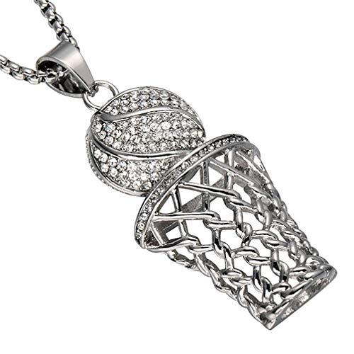 XBYN Männer Hiphop Gefrorene heraus Diamant Mini Basketball Rim hängende Edelstahl Halsketten Kette