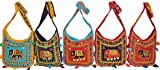 Exotic India Lot of Five Elephant Shopping Bags with Crewel Embro - Multicolored
