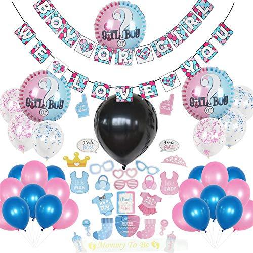 r Photo Booth Requisiten Geschlecht Enthüllen Partydekorationen Für Mädchen Und Jungen Geburtstag - Inklusive Passender Banner & Luftballons Set, Kostüm-Dress-up ()