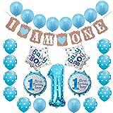 Toupons 1. Geburtstag Dekorationen für Jungen, blau Happy Birthday Banner Latex und Folie Ballons Kit (Blau-1)