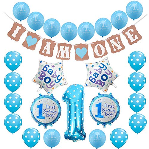 g Dekorationen für Jungen, blau Happy Birthday Banner Latex und Folie Ballons Kit (Blau-1) ()