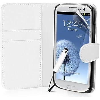 Supergets® Gravur Hülle für Samsung Galaxy S3 Buch-Stil Imitat Ledertasche Hülle in Weiß, Folie für S3, Mini Eingabestift