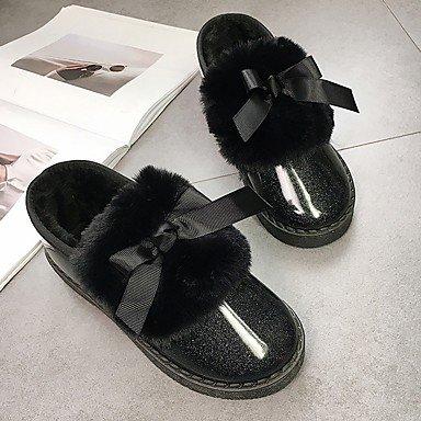 Rtry Mujeres Zapatos Pu Moda Invierno Comfort Boots Botas Flat Heel Round Bowknot Toe Para Casual Blushing Rosa Gris Negro Us8.5 / Eu39 / Uk6.5 / Cn40