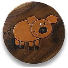 ART-CRAFT KH100 Kinderhocker Holz Schemel mit Motiv Schwein bemalt und beschnitzt Höhe 27 cm