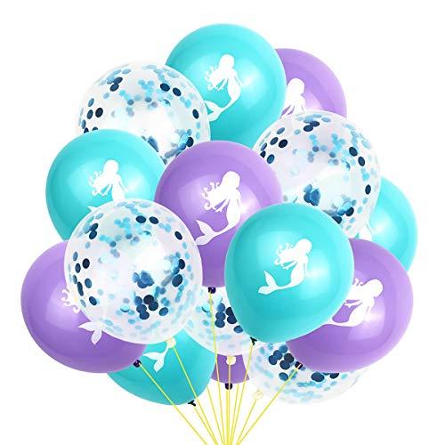 Amosfun 15 stücke Meerjungfrau Geburtstag Ballons konfetti Ballons Latexballons für Meerjungfrau themenorientierte Geburtstag Baby Shower Hochzeit partydekorationen (Ballons Kleine Meerjungfrau)