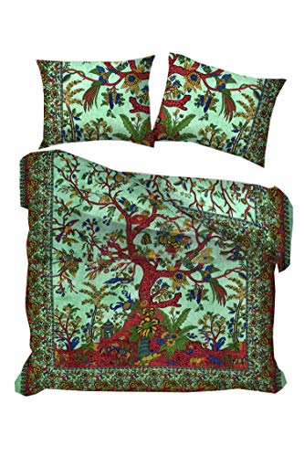 Traditional Jaipur Funda nórdica Jungle Tree of Life tamaño Queen/Twin, Doona Cotton Throw, Bohemian...