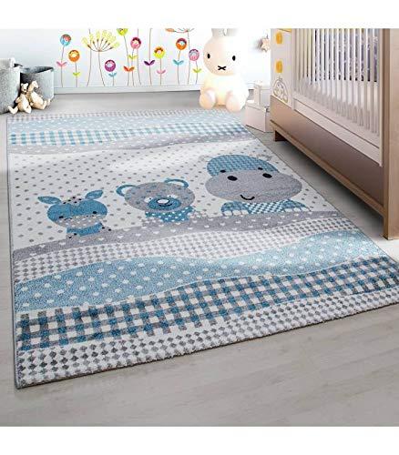 zimmer Teppich Lustige Tiere Muster Grau Blau Weiß - 160x230 cm ()