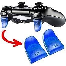 eXtremeRate Gatillos quickfire Trigger Ajustables Gatillo Extender de bontones L2 R2 para Mando inalámbrico Sony PS4 Dualshock Playstation 4 con JDM-030(2 Pares de Azul)
