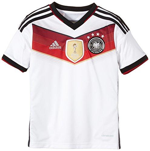 adidas Kinder Trikot DFB Heim, 4 Sterne, White/Black/Victory Red S04/Matte Silver, 152, 016001110 (Brasilien Fußball-shirt Heim)