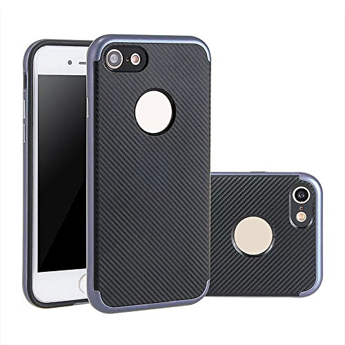 iPhone 7 Plus Hülle, Aohro Dünne Schutzhülle [Black TPU Silicone Carbon Design + PC Bumper] Back Cover Case Bumper für Apple iPhone 7 Plus, Schwarz (Black) Grau